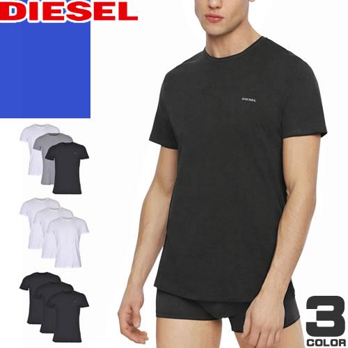 ディーゼル DIESEL Tシャツ メンズ 2019年新作 半袖 ブランド 大きいサイズ プリント ロゴ コットン 綿 黒 白 ブラック ホワイト 00SSPQ 0091A [ネコポス発送]