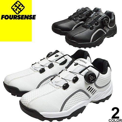 フォーセンス FOURSENSE ゴルフシューズ スポーツシューズ スニーカー メンズ スパイクレス ダイヤル式 靴 スリッポン 白 黒 ブラック おしゃれ カジュアル 疲れない ブランド Easy FOSN 001M