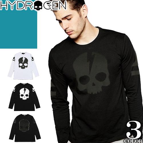 ハイドロゲン Hydrogen ロンT Tシャツ メンズ 長袖 トップス カットソー 黒 綿100% 大きいサイズ ロゴ スカル 秋 おすすめ 2018 ブランド かっこいい 230053 [ネコポス発送]
