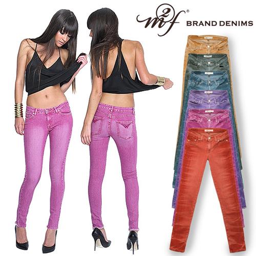 エムトゥーエフ インディー スキニーパンツ カラーパンツ スキニーデニム レディース 赤 グリーン ブルー イエロー ピンク 大きいサイズ ストレッチ M2F INDIE SKINNY SOLAR WASH PANTS [S]