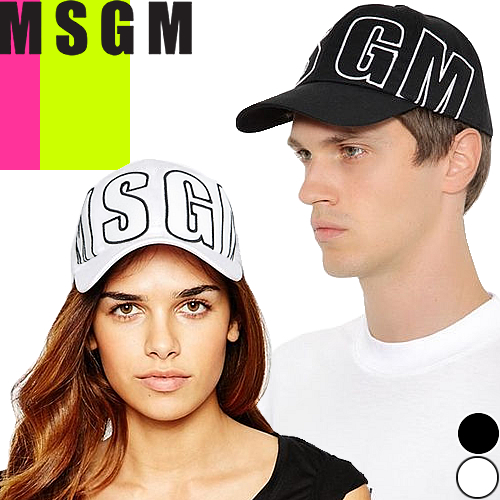エムエスジーエム MSGM キャップ 帽子 メンズ レディース 2019年春夏新作 ブランド ロゴ 無地 ワンポイント ブラック ホワイト 黒 白 2640ML09 195084 [S]