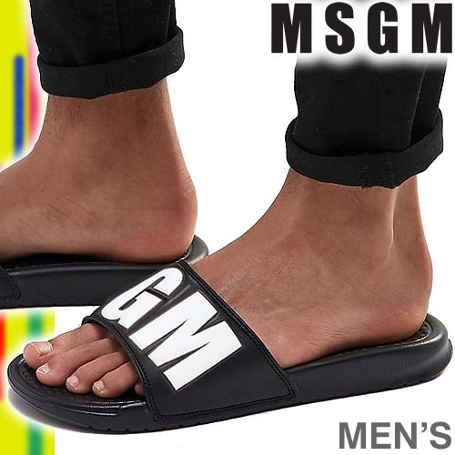 エムエスジーエム MSGM サンダル メンズ シャワーサンダル ラバーサンダル ブランド ロゴ 無地 ワンポイント ブラック 黒 歩きやすい おしゃれ 室内履き 2440MS100