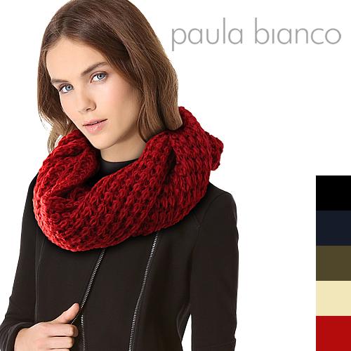ポーラビアンコ マフラー スヌード レディース メンズ マフラー ストール ブランド ニット 無地 赤 黒 かわいい 防寒 Paula Bianco Heavy Knit Infinity Scarf PBS700 [S]