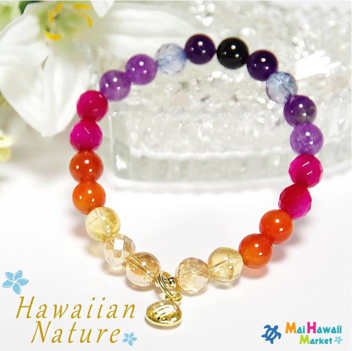 Hawaiian Nature(ハワイアンネイチャー)シリーズSUNSET(サンセット)パワーストーン ブレスレット ハワイ2月誕生石 アメジスト 7月誕生石 カーネリアン 11月誕生石 シトリンレディースブレスレット送料無料