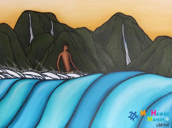 【送料無料】ハワイ ヘザー・ブラウン 原画 オリジナル アート 絵画【カウアイサーフ】