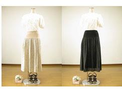 ☆夏物新入荷♪【大人可愛い要素がたっぷり(^^♪】 レース調穴あきフラワーデザインロングスカート