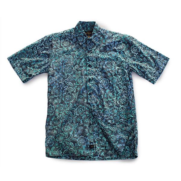 アロハシャツ コットン100% 半袖 手染め ハンドメイド ボタンダウンシャツ Sサイズ シャツ あろは あろはしゃつ メンズ【送料無料】