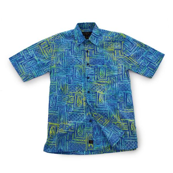 アロハシャツ コットン100% 半袖 手染め ハンドメイド ボタンダウンシャツ Sサイズ シャツ ブルー イエロー あろは あろはしゃつ メンズ【送料無料】