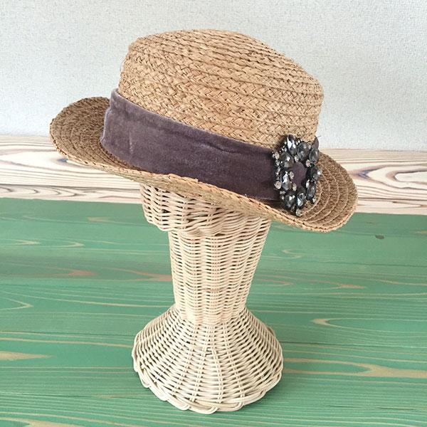 チュアンピサマイジュエリー麦わら帽子。ハンドメイド仕上げです。 【送料無料】チュアンピサマイ CHUANPISAMAI リボン ジュエリー 麦わら帽子 レディース ハット ハンドメイド 天然素材 ストローハット ビジュー