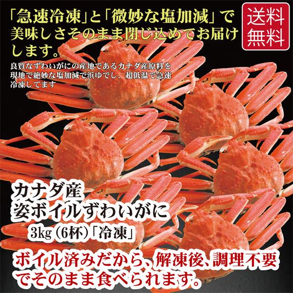 濃厚な蟹味噌を好きなだけ味わえます 姿 ボイル 新品未使用正規品 ずわいがに 3kg カナダ産 返品送料無料 冷凍 6杯