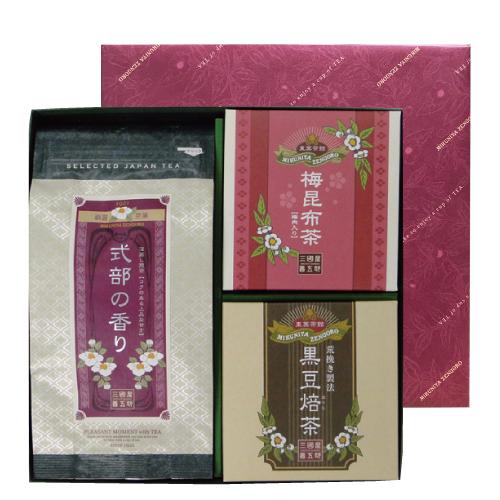 1年保証 三国屋善五郎 式部の香り セール特価 梅昆布茶 黒豆焙茶セット