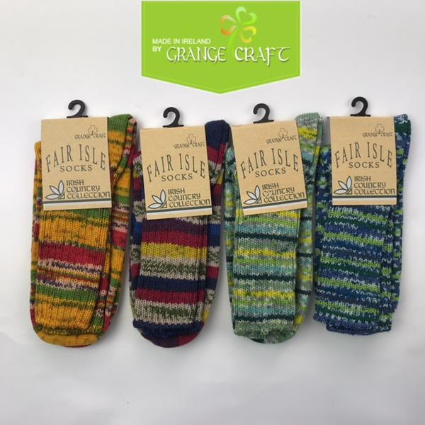 6610559cd32c7 Ireland made three purchases at the GRANGE CRAFT wool fair Isle socks one  size fits all ...
