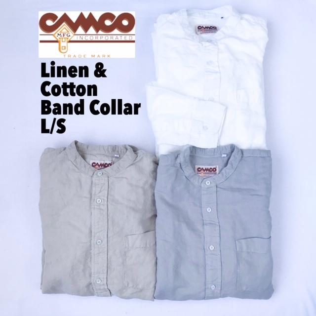 送料無料 CAMCO【カムコ】2 L/C BAND L/S 長袖 リネンコットン バンドカラー シャツ メンズ(男性用) 【smtb-m】
