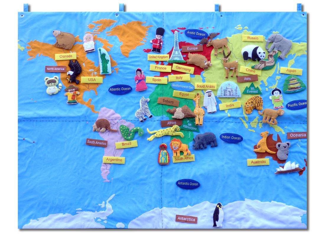 ★送料無料!★『布製 世界地図』