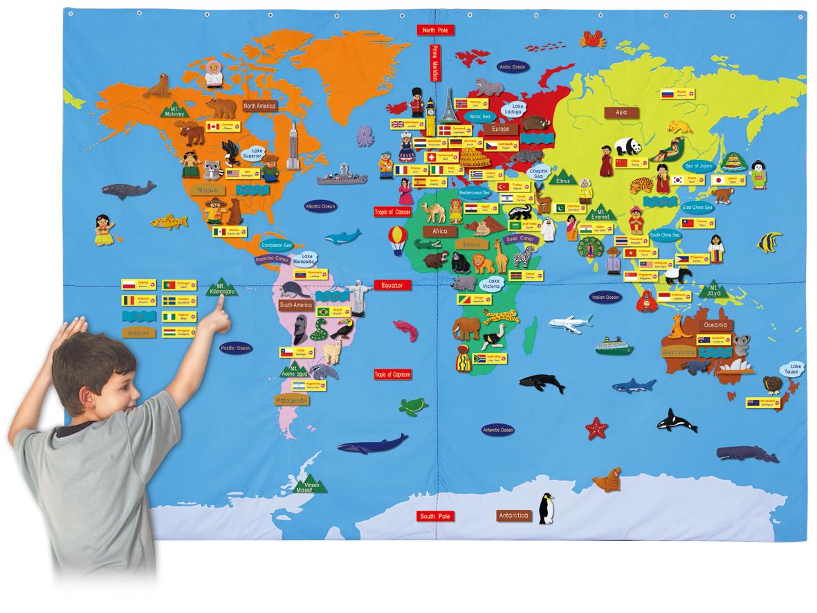 ★送料無料!★『布製 ジャンボ世界地図(英語版)』