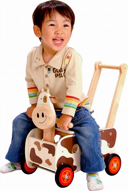 ★送料無料★『ウォーカー・ライドカウ』【木製 知育玩具】【木のおもちゃ】【プルトイ】【パズル】