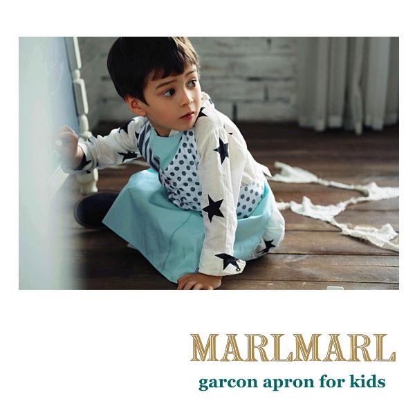 MARLMARL マールマール エプロンドレス garcon apron/slash stripe/yelloe flower kids キッズエプロン
