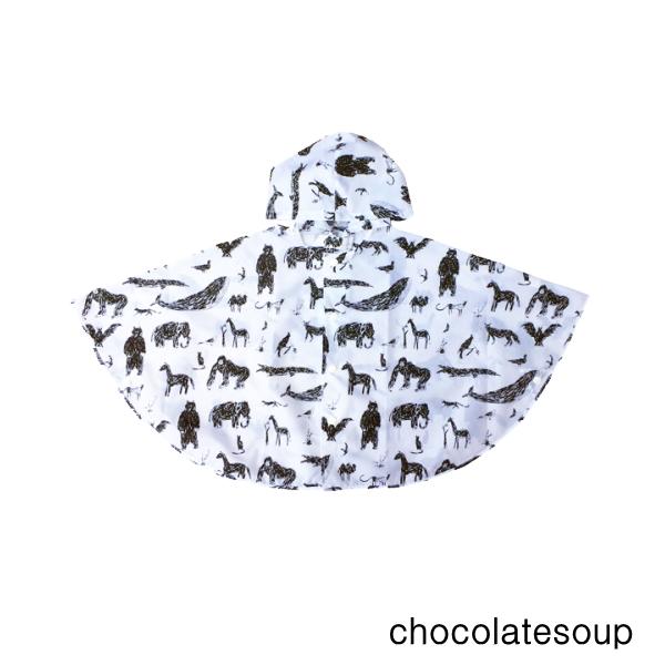 モノトーンのパターンがおしゃれなキッズレインポンチョ chocolatesoup チョコレートスープ 再入荷 正規逆輸入品 GEOMETRY RAINPONCHO ANIMAL 90cm 超人気 専門店 ジオメトリー おしゃれ キッズ 女の子 レイングッズ レインポンチョ 男の子 子供用 巾着