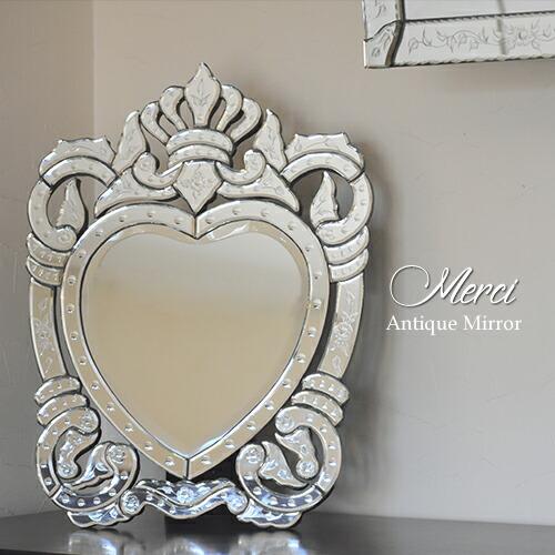 【送料無料】卓上鏡 スタンドミラー アンティーク調ミラー ベネチアン Merci メルシー