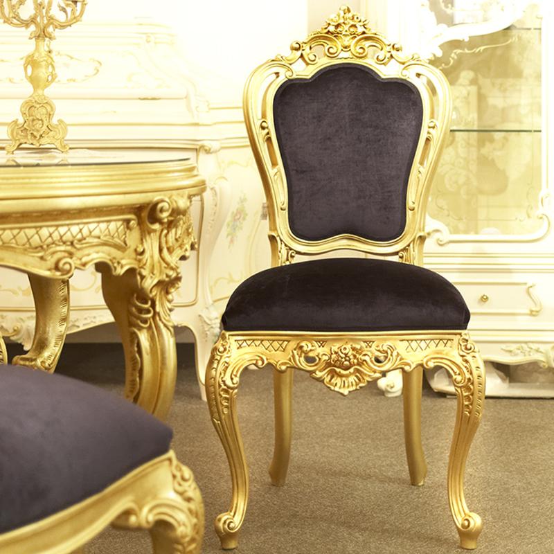 シリック チェア ゴールド 幅56cm/ SILIK イタリア製 高級 高級家具 最高級 ロココ 金 ゴールド