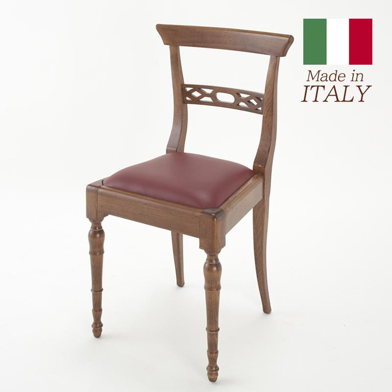 カパーニ CAPANNI レザーチェア 幅44cm/椅子 チェア 高級 おしゃれ アンティーク スタイル 完成品 木製 イタリア製 輸入家具