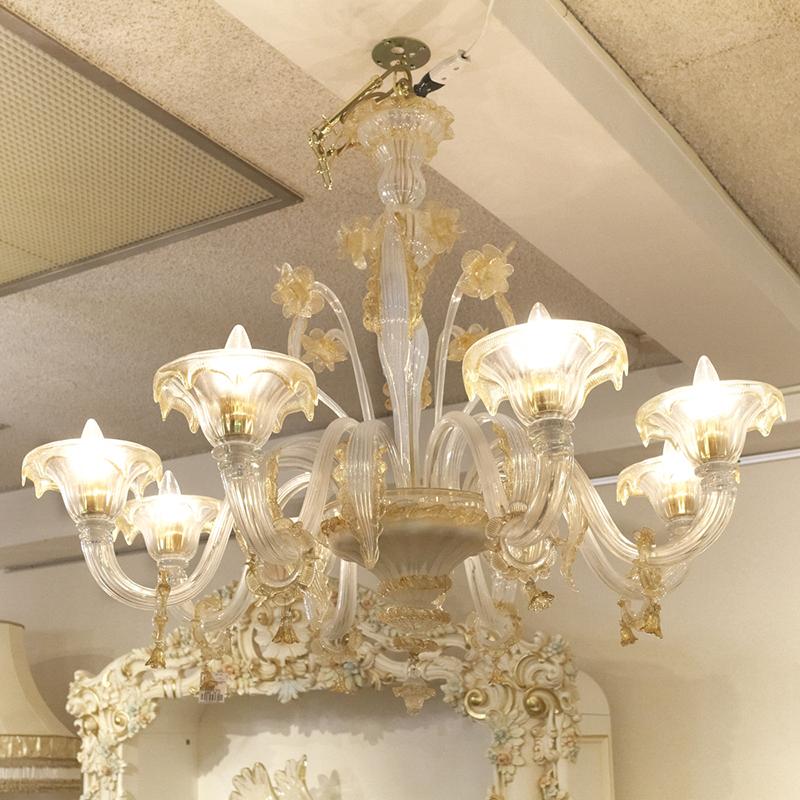 イタリア製 シャンデリア 8灯 ヴェネチアンガラス/ ムラーノ ベネチアンガラス ヴェネチアン スタイル ベネチアン スタイル イタリア 輸入家具 高級 高級家具 最高級 ゴールド インテリア リビング