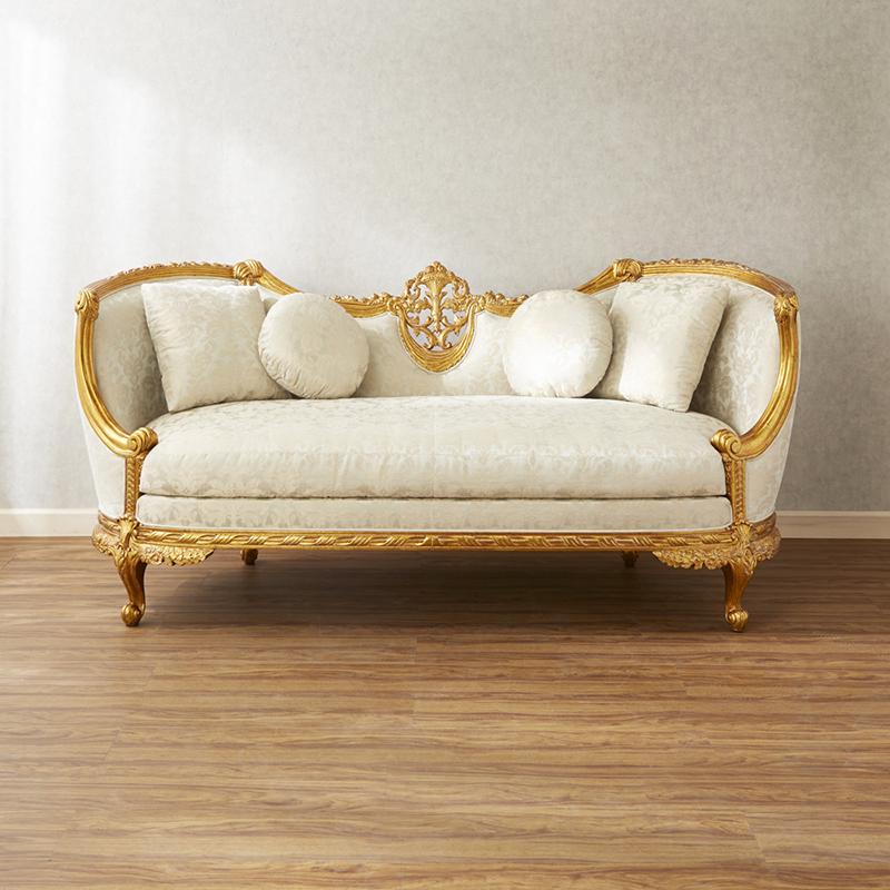 ジャンセン ソファ 幅193cm クッションセット / JANSEN ソファ 2シーターソファ 2Pソファ 椅子 チェア 高級 高級家具 最高級 ロココ 白 ホワイト 金 ゴールド 彫刻 猫脚 エレガント