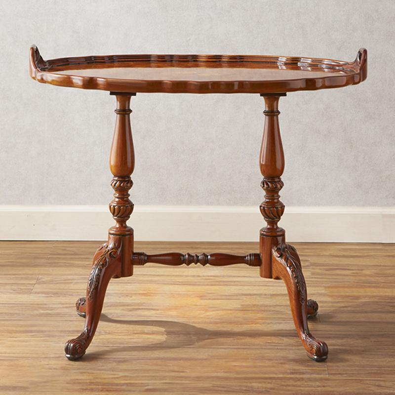 ジャンセン ティーテーブル 幅65cm / JANSEN テーブル サイドテーブル カフェテーブル リビング 高級 高級家具 最高級 ロココ 茶 ブラウン 彫刻 猫脚 エレガント
