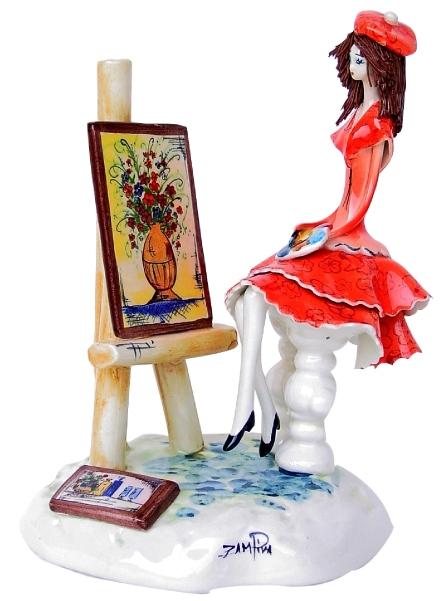 イタリア製陶器人形/Zampiva/ザンピバインテリア/オブジェ/「絵描き少女」15.5cm