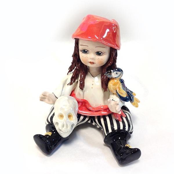 イタリア製陶器人形/Zampiva/ザンピバインテリア/オブジェ/「パイレーツ・スカル」18cm