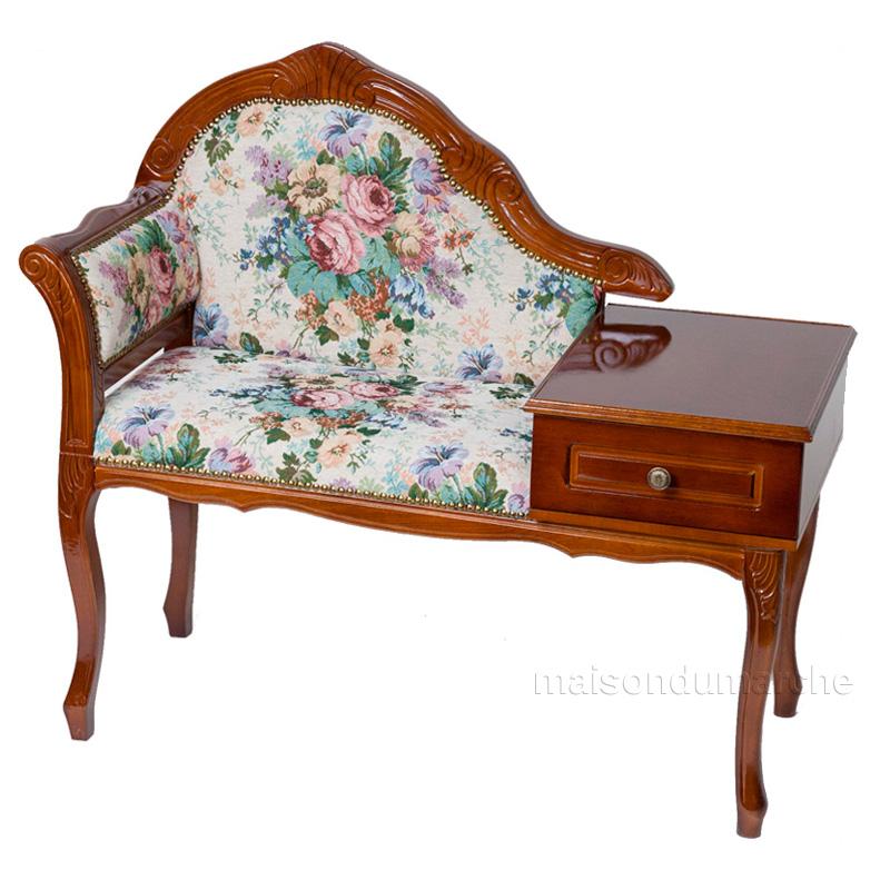 [送料無料] テーブル付きチェア 幅95cm/ イタリア アンティーク スタイル クラシック 天然木 猫足 タロッコ