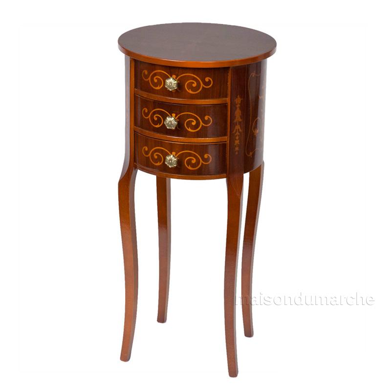 [送料無料] サイドテーブル 幅34cm / イタリア アンティーク スタイル クラシック 天然木 猫足 タロッコ