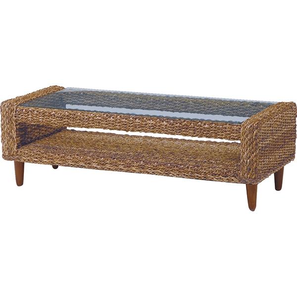 テーブル(ナチュラル) 幅120cm / グランツ アジアンテイスト リビングテーブル テーブル 机 センターテーブル ローテーブル ガラステーブル リゾート 天然素材 アバカ