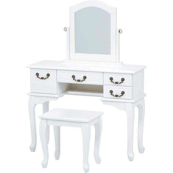 フェミニンシリーズ ドレッサー ホワイト 幅90cm / 化粧台 収納 リビング収納 ホワイト 白 白家具 姫系 可愛い 大人可愛い