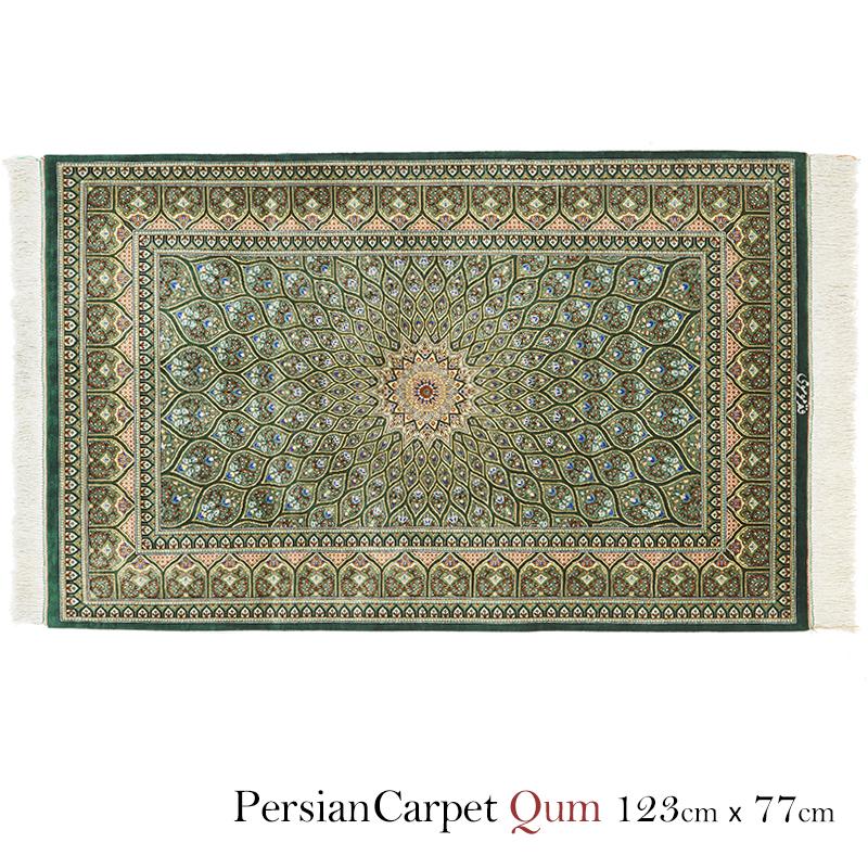 ペルシャ絨毯 クム2401321 / シルク100% 手織り 手作業 織り子 イラン製 ラグ マット 絨毯 qum