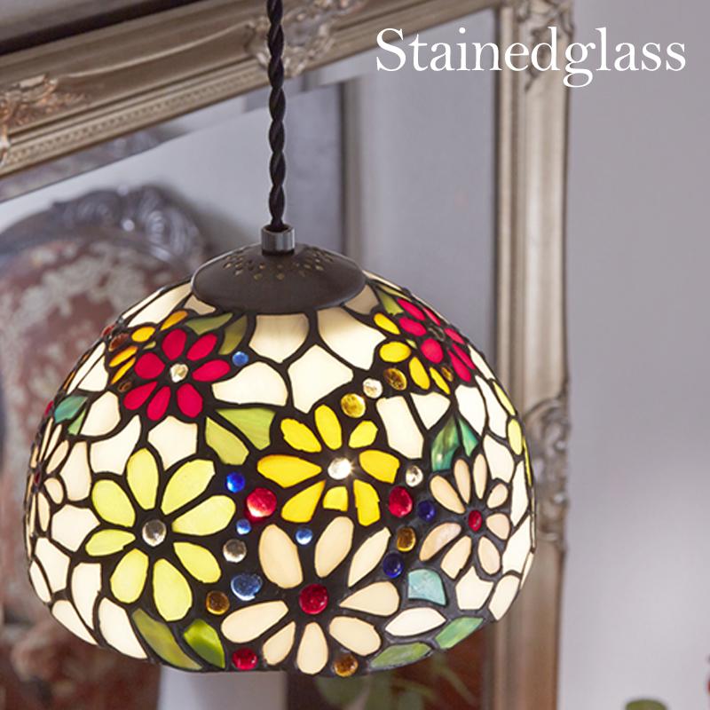 ステンドグラス ペンダントランプE カラフルフラワー/ステンドガラス 60W電球付属 照明 電球付属 シーリングライト ランプ ライト リビング ダイニング アンティーク調 おしゃれ きれい 花柄 新築祝い LED可