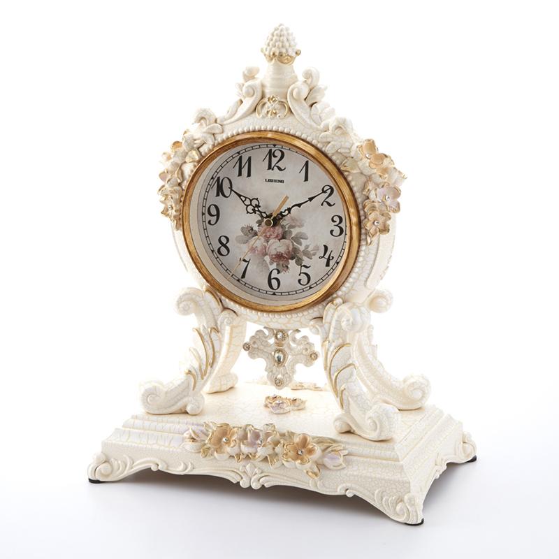 スタンドクロック ホワイト 幅24cm/置き時計 花 白 フラワー クロック フロアクロック インテリア おしゃれ 可愛い 大人可愛い リビング 寝室