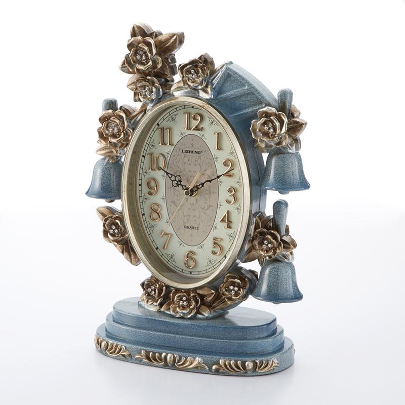 スタンドクロック ブルーベル 幅26cm/置き時計 花 青 ブルー フラワー ローズ 薔薇 クロック フロアクロック インテリア おしゃれ 可愛い 大人可愛い リビング 寝室