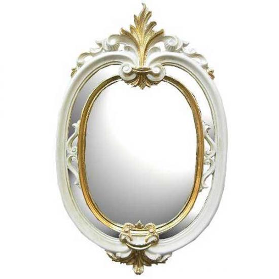 クラシック調フレーム 楕円 大 ウォールミラー / 白×ゴールド ホワイト 鏡