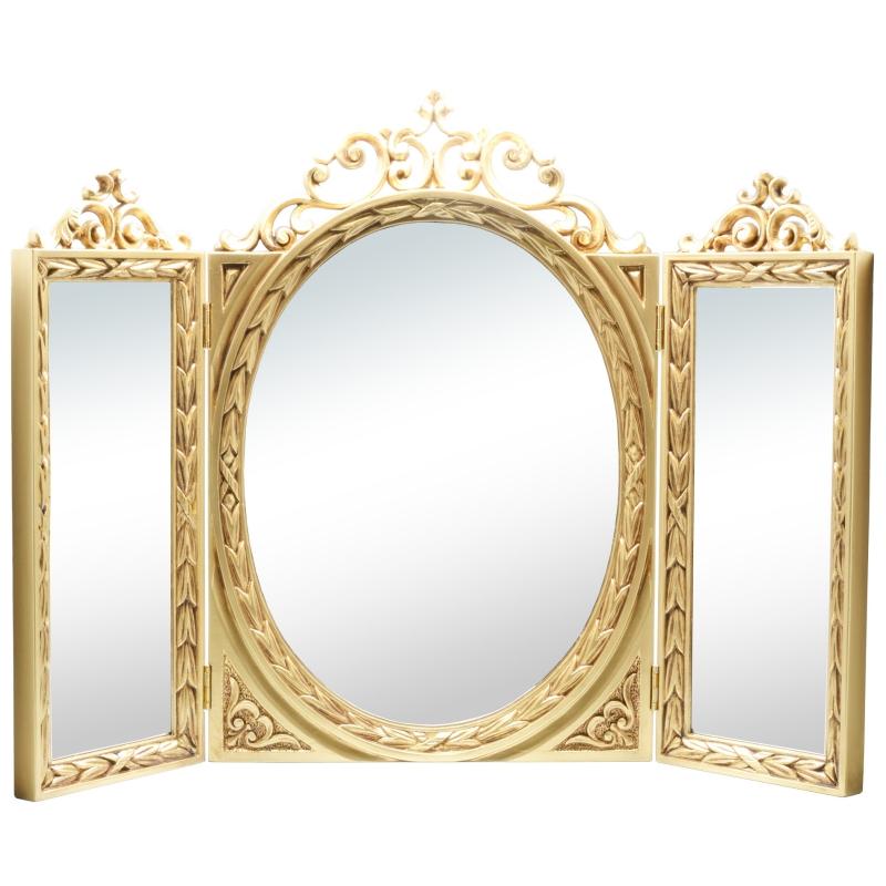 クラシック調フレーム 卓上三面鏡 / ゴールド 三面鏡