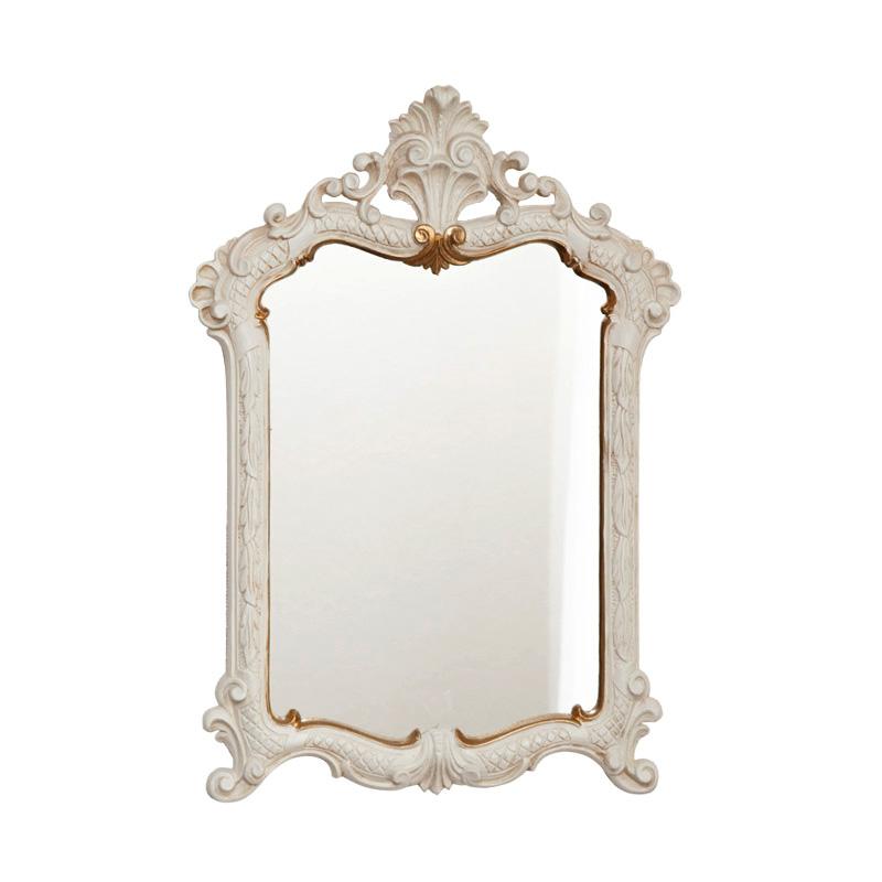クラシック調フレーム スクエア 装飾付 ウォールミラー / 白×ゴールド ホワイト 鏡