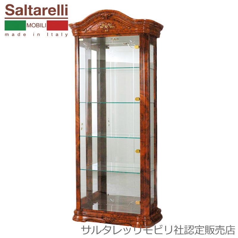 [送料無料] サルタレッリ アマルフィ1ドアグラスカップボード (食器棚 飾り棚) ウォールナット 幅83cm ロココ おしゃれ アンティーク デザイン