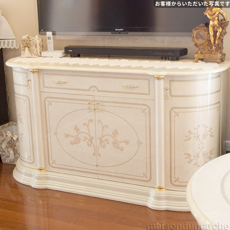 [送料無料] サルタレッリ フローレンス4ドアサイドボード アイボリー 幅169cm 白家具 白 ロココ おしゃれ アンティーク デザイン