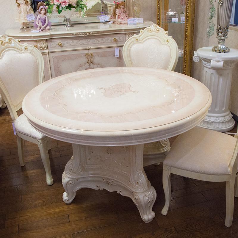 [送料無料] サルタレッリ ヴェルサイユラウンド ダイニングテーブル アイボリー 幅115cm 白家具 白 ロココ おしゃれ アンティーク デザイン