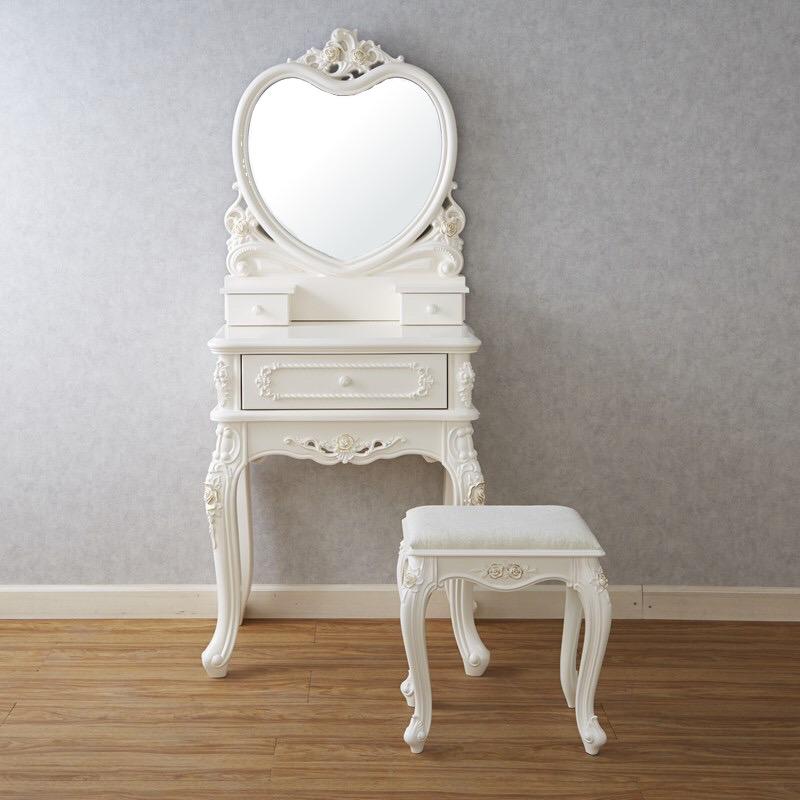 ドレッサー&スツール/ 白家具 姫家具 エレガンス 猫脚 かわいい クラシック