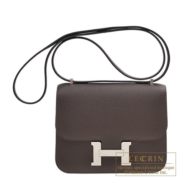 【2021春夏新色】 エルメス コンスタンスミニ エベーヌ ヴォーエプソン シルバー金具 HERMES Constance mini Ebene Epsom leather Silver hardware, チタグン c339afef
