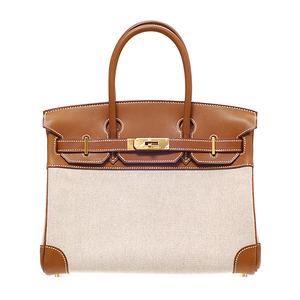 Hermes Birkin bag 30 Gold Cotton canvas with barenia leather Gold hardware 16080b46f60c1