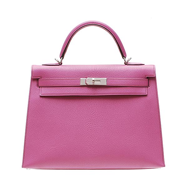 Hermes Kelly Bag 32 Ier Fuschia Pink Chevre Coromandel Silver Hardware