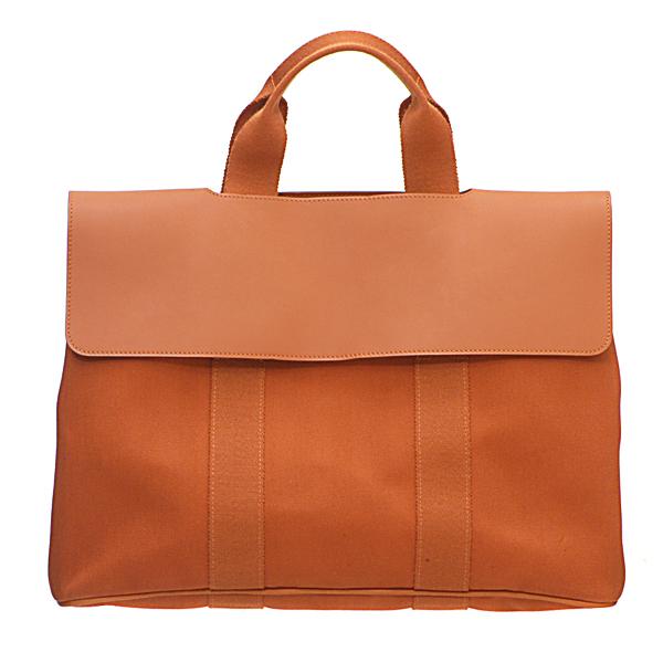 Hermes Valparaiso bag MM Brique Cotton canvas with Swift leather