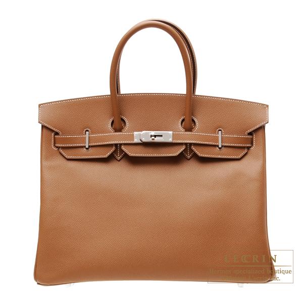 エルメス バーキン35 ゴールド ヴォーエプソン シルバー金具 HERMES Birkin bag 35 Gold Epsom leather Silver hardware